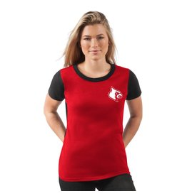 TEE, LADIES, SS, YARDLINE, RED/BLK, UL