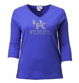 T-SHIRT, LADIES, 3/4 SLEEVE, ROYAL, UK