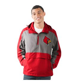 JACKET, RAIN, 1/2 ZIP, LEADOFF, RED/GREY, UL