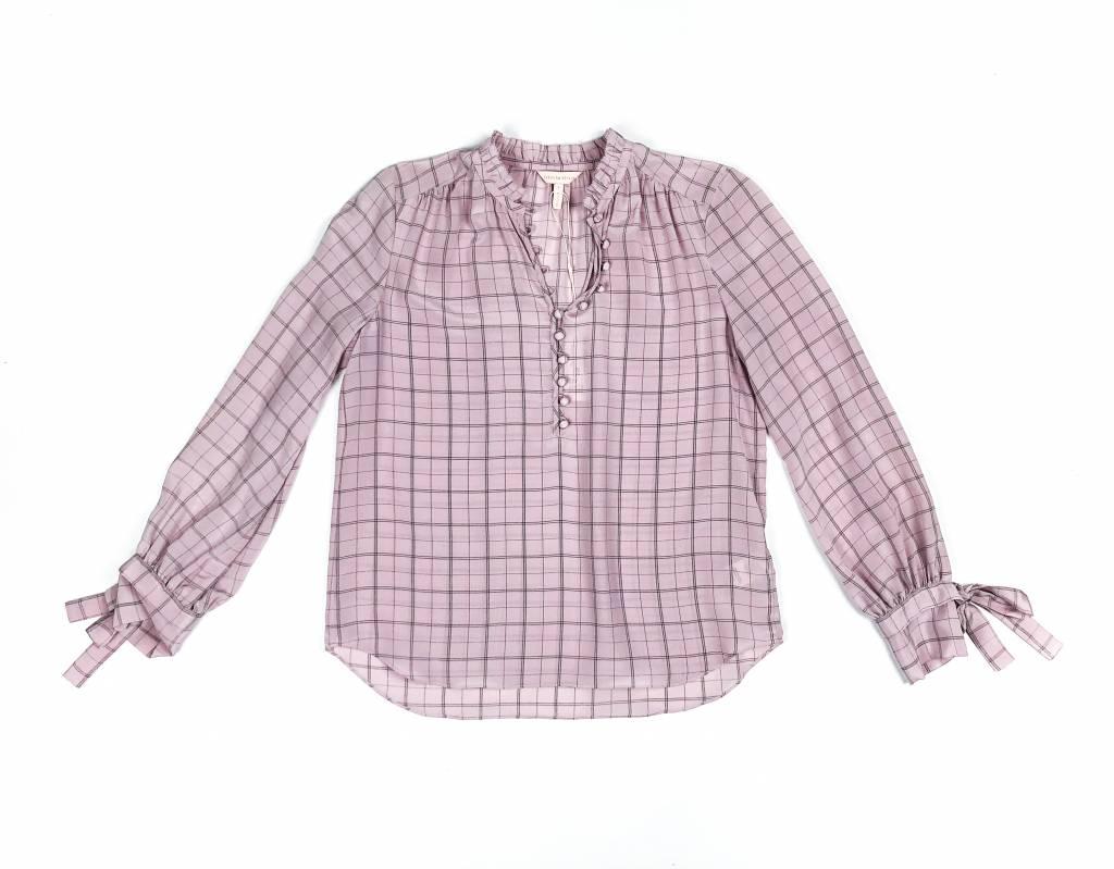 Rebecca Taylor LS Plaid Tie Sleeve Silk Top