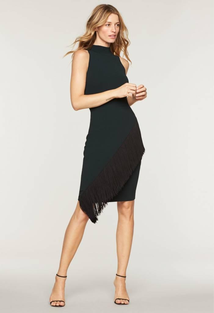 MILLY Angled Fringe Knit Dress
