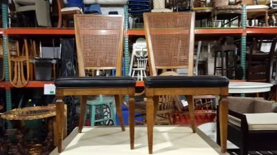 Brooklyn Rattan Chairs with Leather Seats #RED