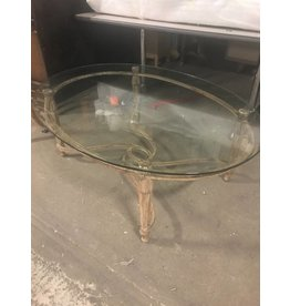 Queens Glass Oval Coffe Table with Steel Base #YEL