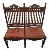 Hand Carved Mahogany Double Seat Chairs #BLU