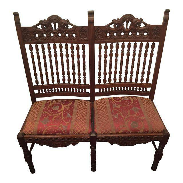 Brooklyn Hand Carved Mahogany Double Seat Chairs #BLU