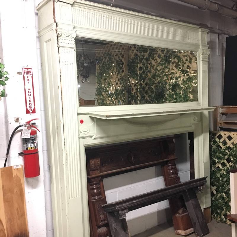 Brooklyn Ornate Mantel with Mirror #RED