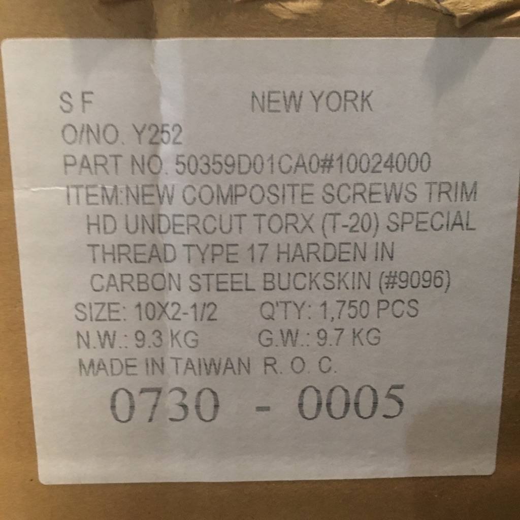 Brooklyn Box of Star Drive Deck Screws #WHI