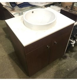 Brooklyn Oak Veneer Vanity W/ Round Porcelain Sink
