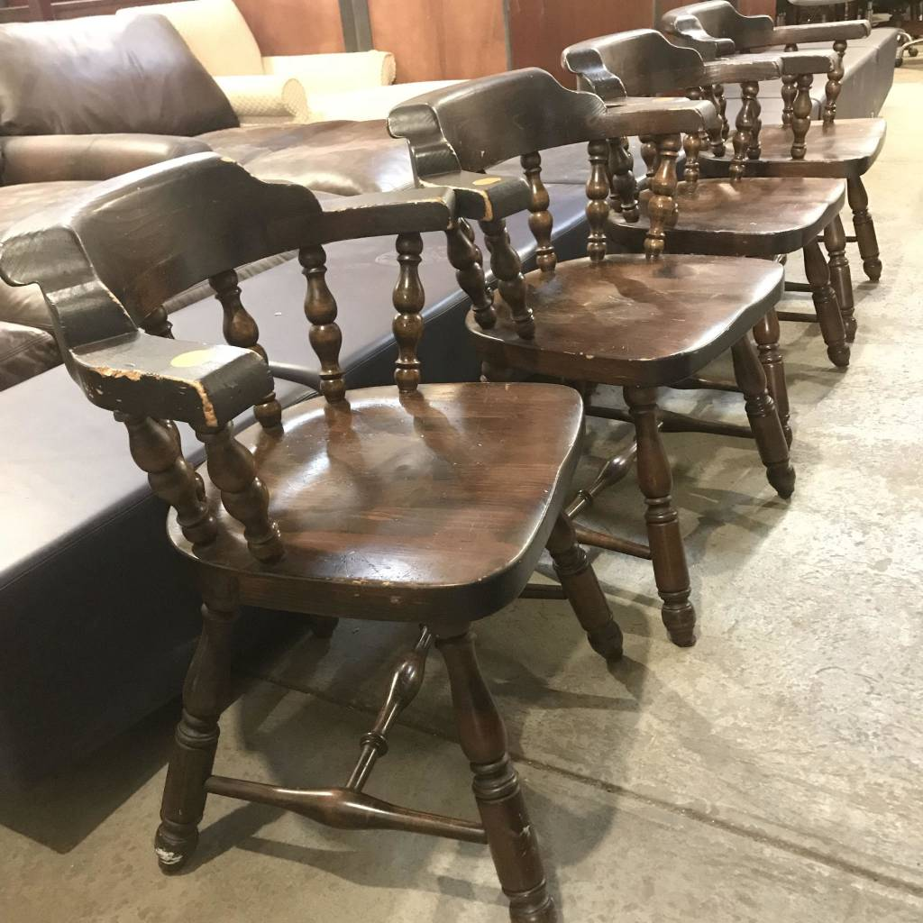 Vintage Oak Bar Chairs #ORA