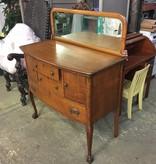 Antique Tiger Oak Dresser w/ Mirrored Backsplash #RED