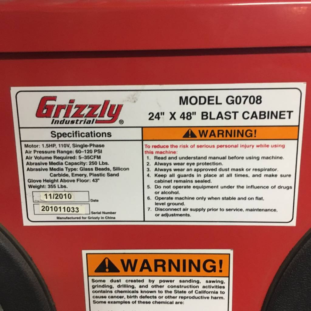 Grizzly Blast Cabinet #PIN