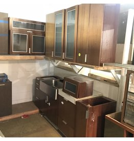 Walnut Veneer Cabinet Set #YEL