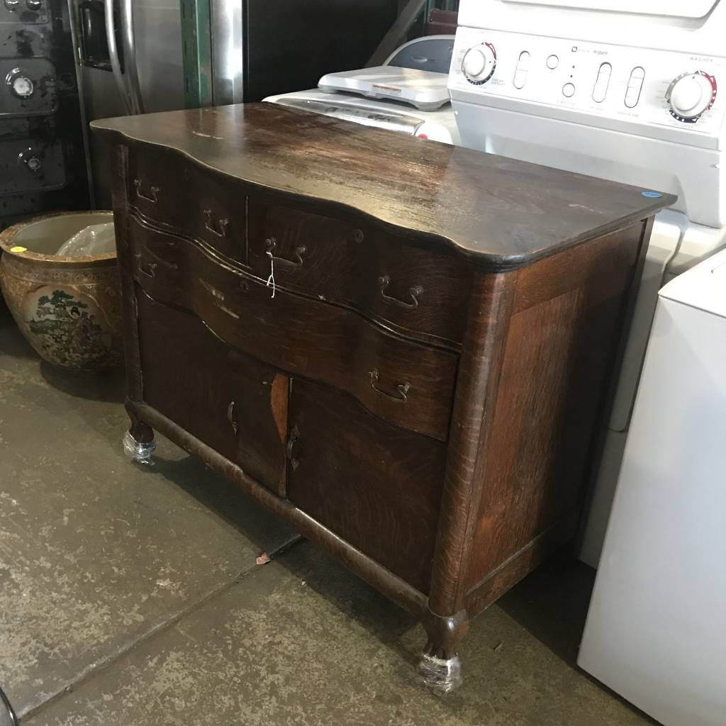 Tiger Oak Serpentine Dresser #BLU