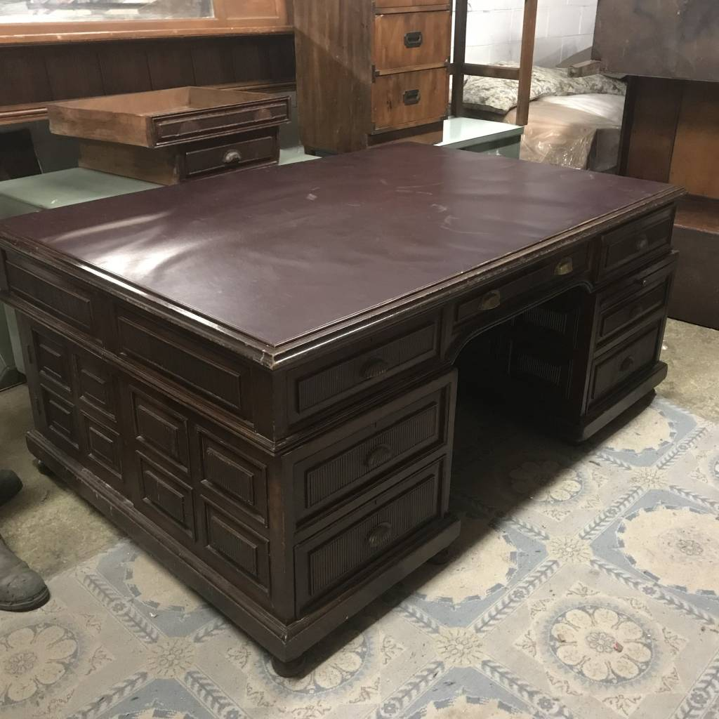 Leather Top Antique Executive Desk #BLU