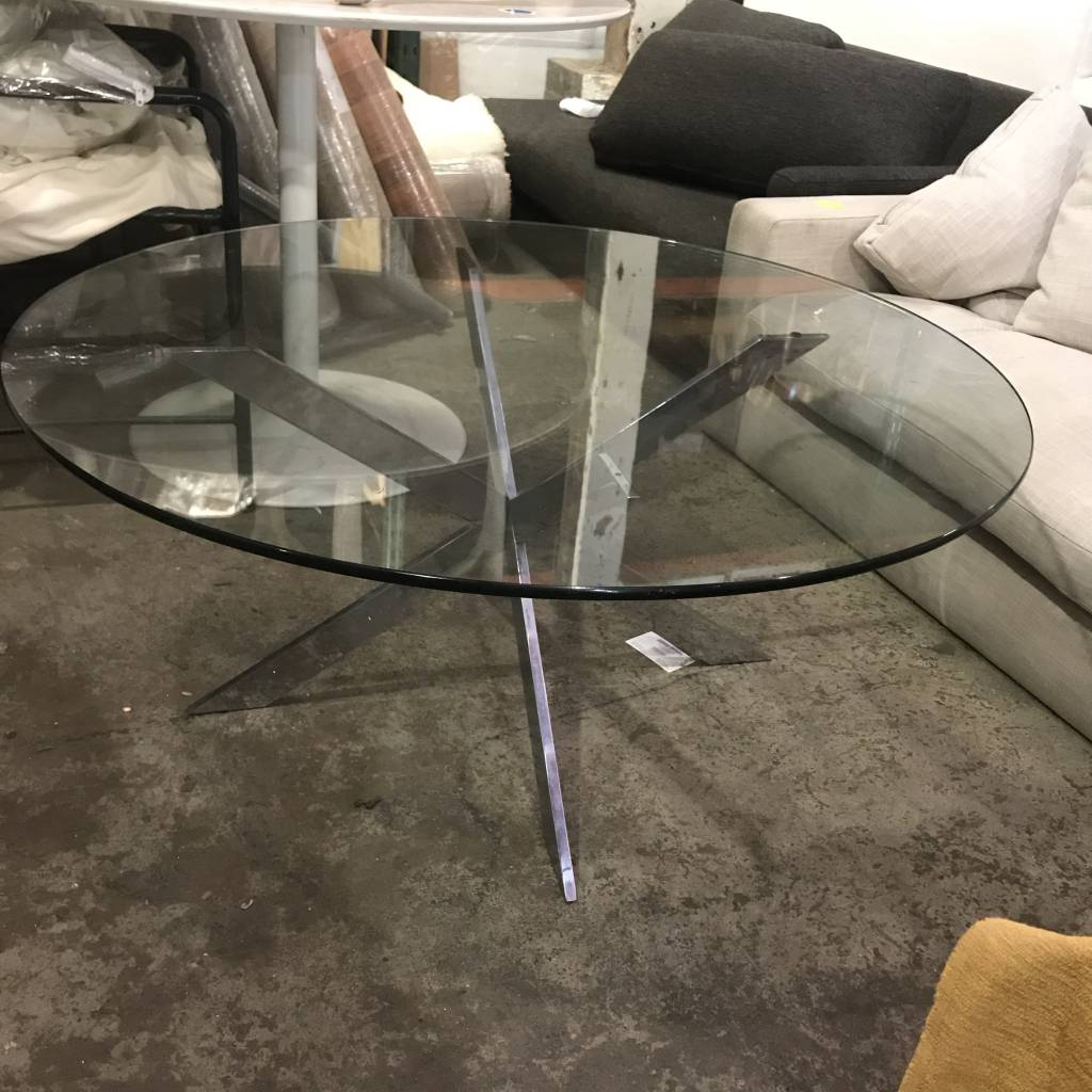 Modern Round Glasstop Coffee Table #BLU