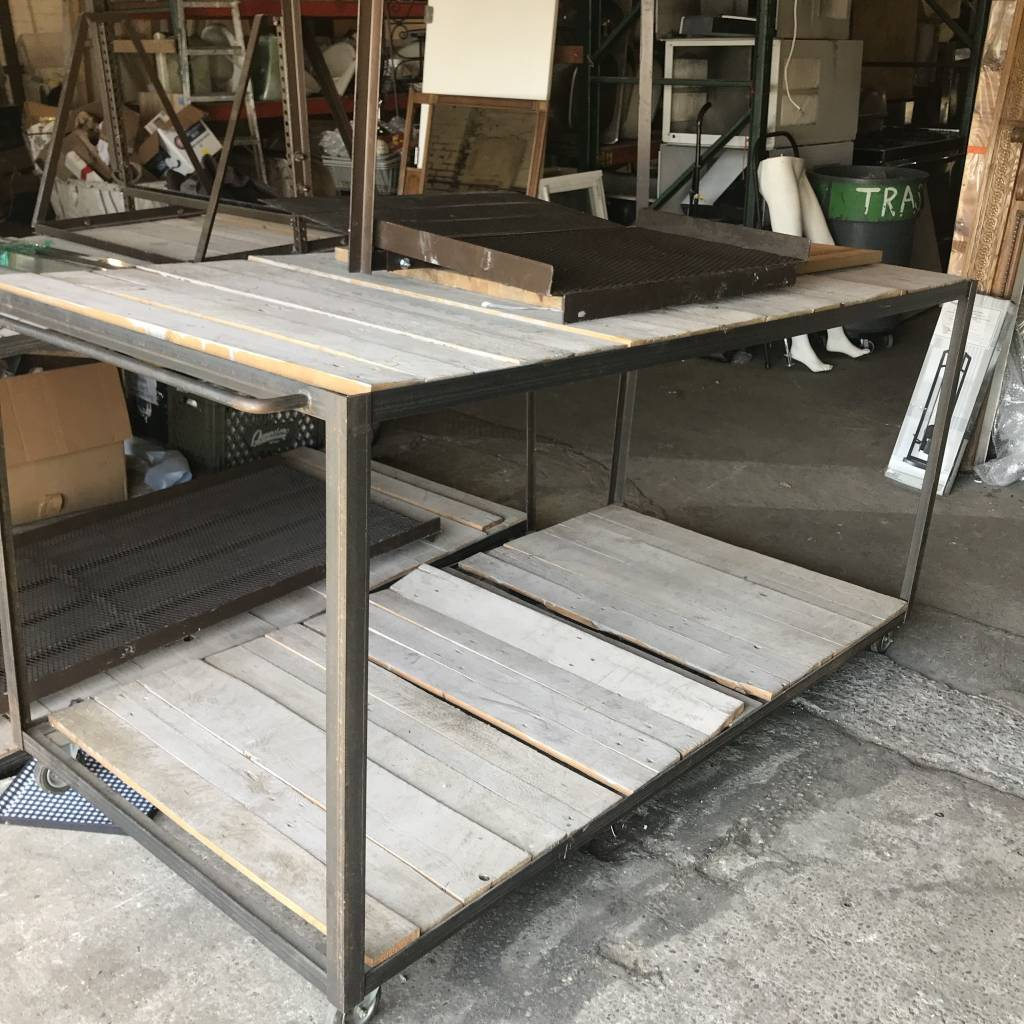 Iron Framed Portable Work Tables#BLU