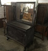 Antique Mirrored Back Oak Dresser #ORA