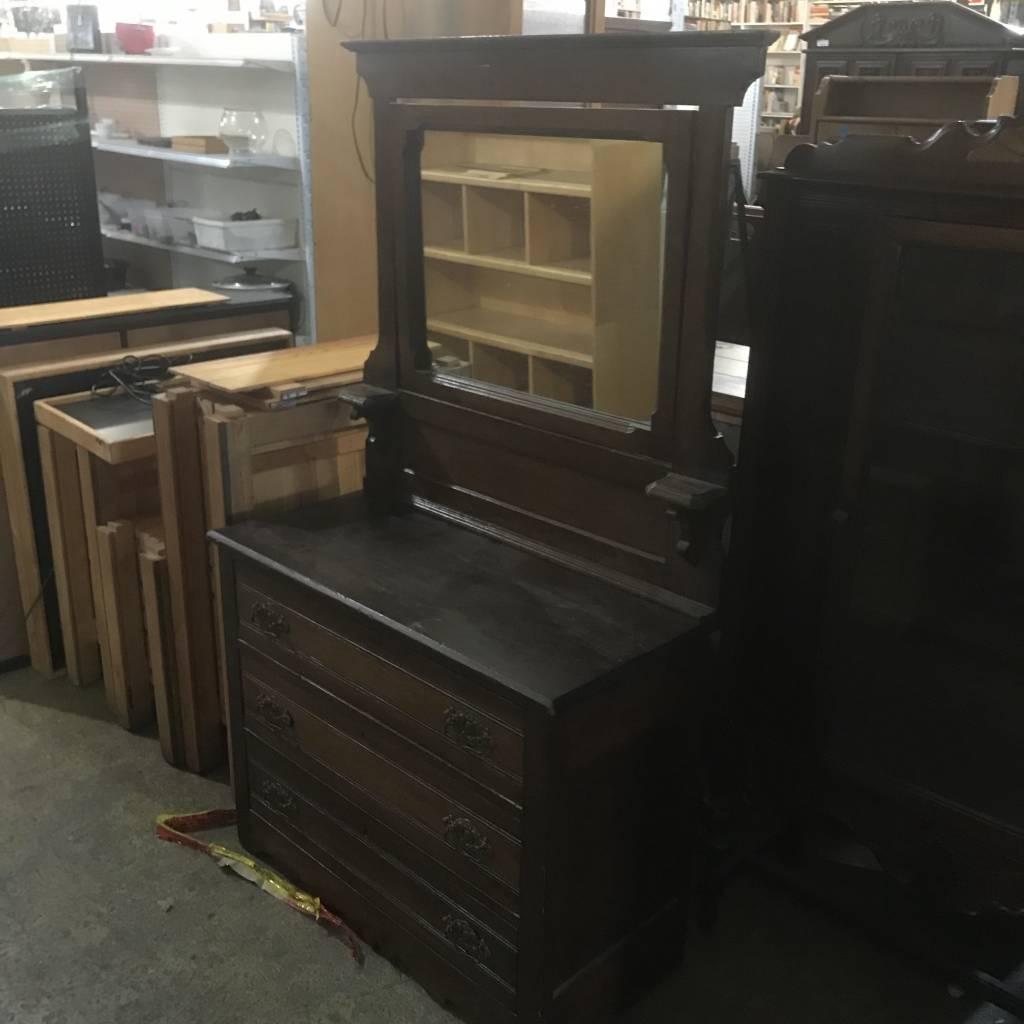Antique Mirrored Oak Dresser #ORA