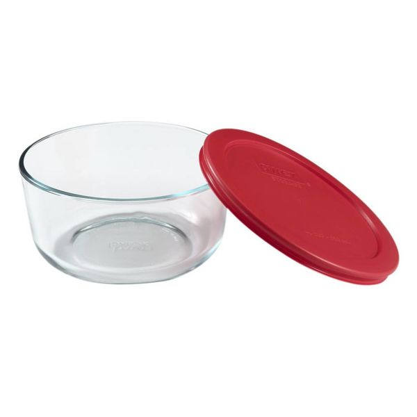 Pyrex Simply Store 1L Round Dish with Red Lid