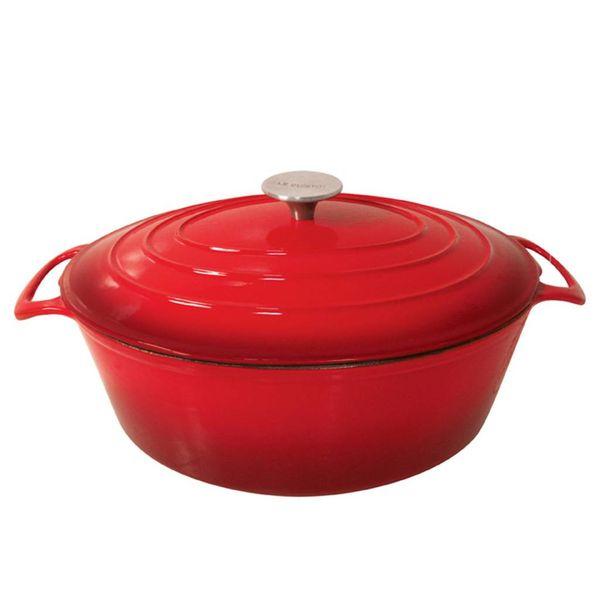 Cocotte ovale en fonte émaillée de Le Cuistot 6.5 L / Rouge 2 tons
