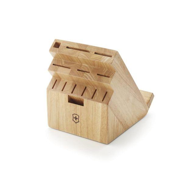 Bloc à couteaux pivotant en bois clair à 13 places