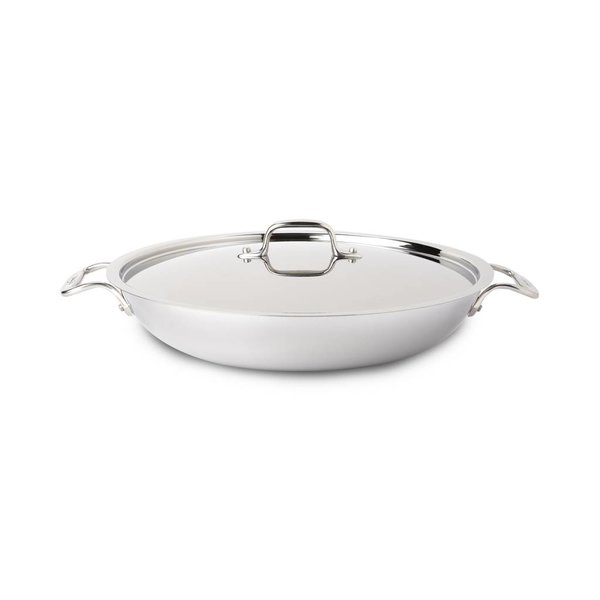 Poêle à paella avec couvercle en acier inoxydable de 34 cm d'All-Clad