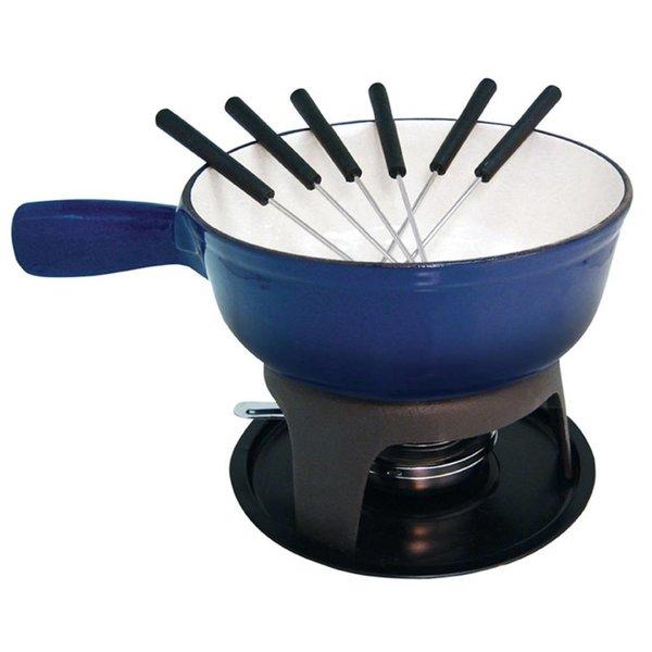 Fondue à fromage en fonte émaillée de Le Cuistot 21 cm / Bleu 2 tons