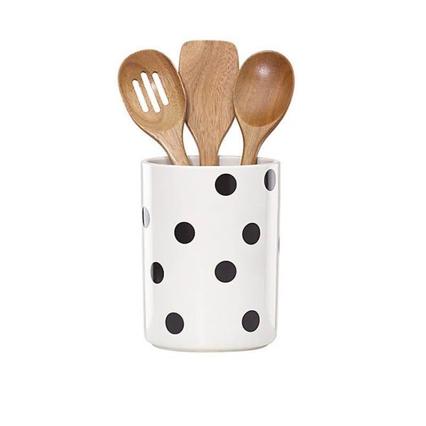 Kate Spade Deco Dot Crock with 3 Utensils