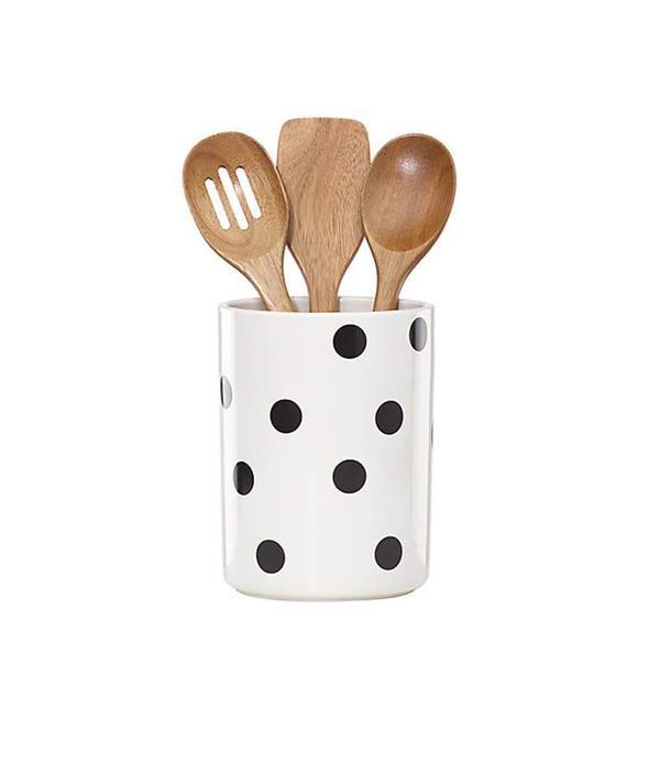 Kate Spade Kate Spade Deco Dot Crock with 3 Utensils
