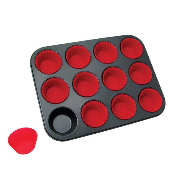 Moule à muffins avec des caissettes de silicone à 12 cavités de La Pâtisserie