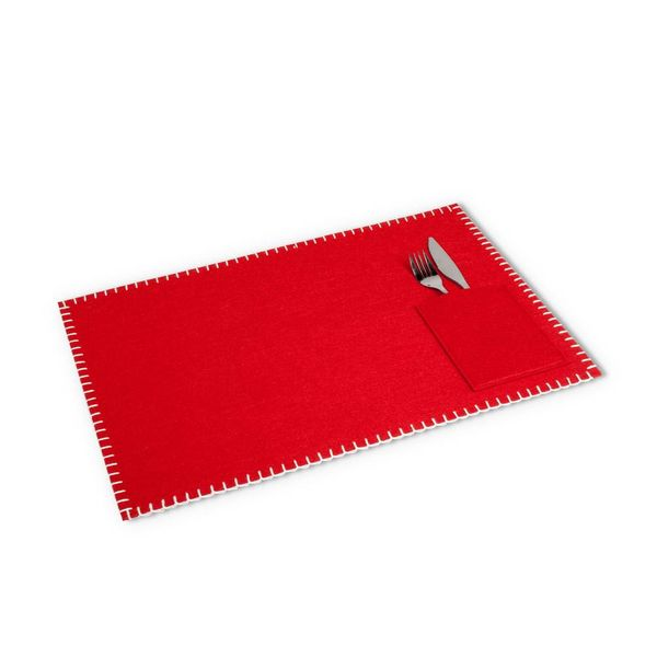 Abbott Felt Table Mat with Sewn Pocket Red