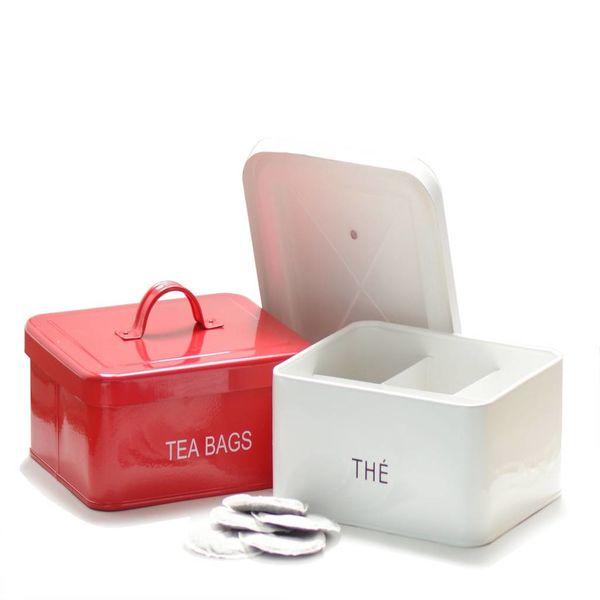 Boîte à thé rouge de DecorSense