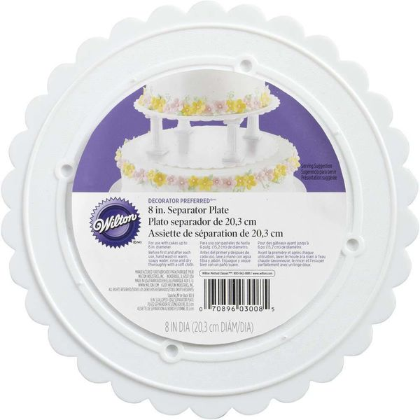 "Wilton Decorator Preferred 8"" Scalloped Separator Plate"