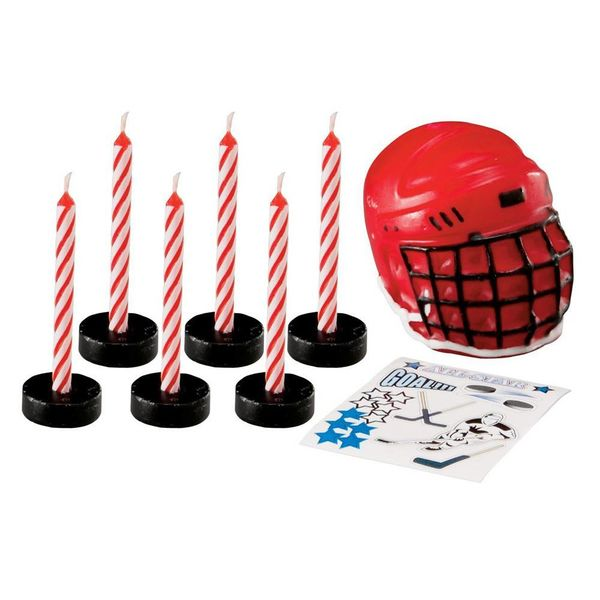 Wilton Hockey Candle Set with Decals