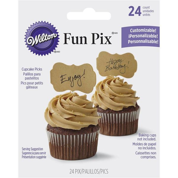 Wilton Customizable Kraft Fun Pix Cupcake Toppers
