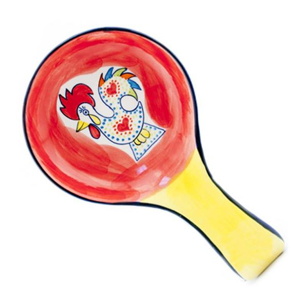 Portugal Imports Joyful Rooster Spoon Rest Red