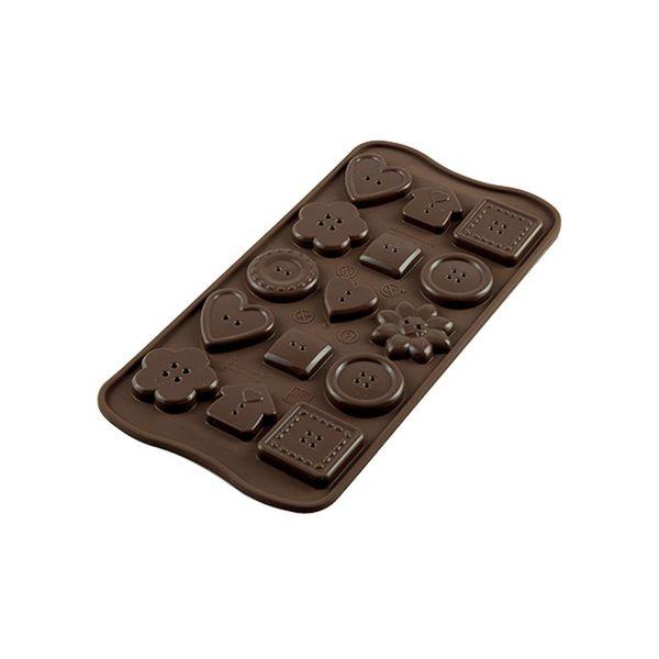 "Moule à chocolat Choco Boutons ""Easy Choc"" en silicone de Silikomart"