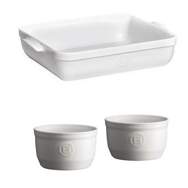 Emile Henry Rectangular Baking Dish Set with 2 Ramekins - Flour