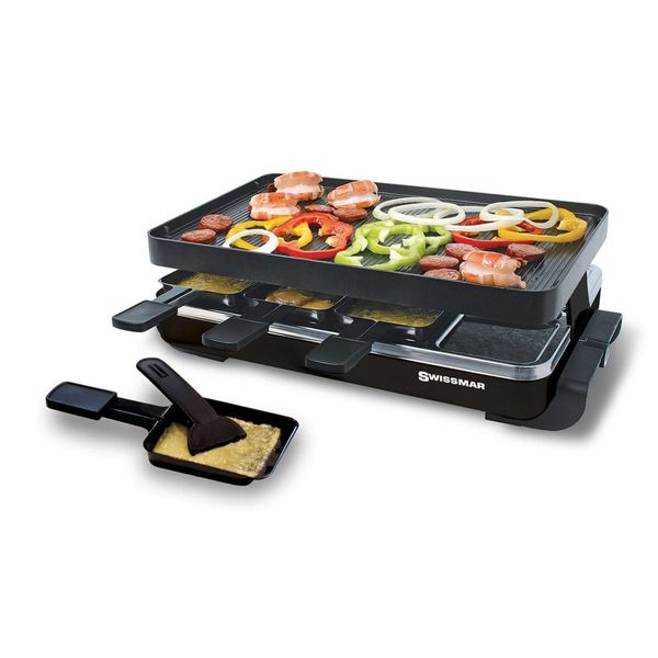 raclette pizza pour 8 personnes avec surface de cuisson en granite locarno de swissmar ares. Black Bedroom Furniture Sets. Home Design Ideas