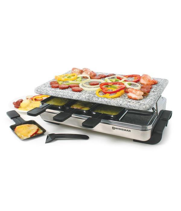 gril raclette stelvio pour 8 personnes avec une plaque de granite de swissmar ares cuisine. Black Bedroom Furniture Sets. Home Design Ideas