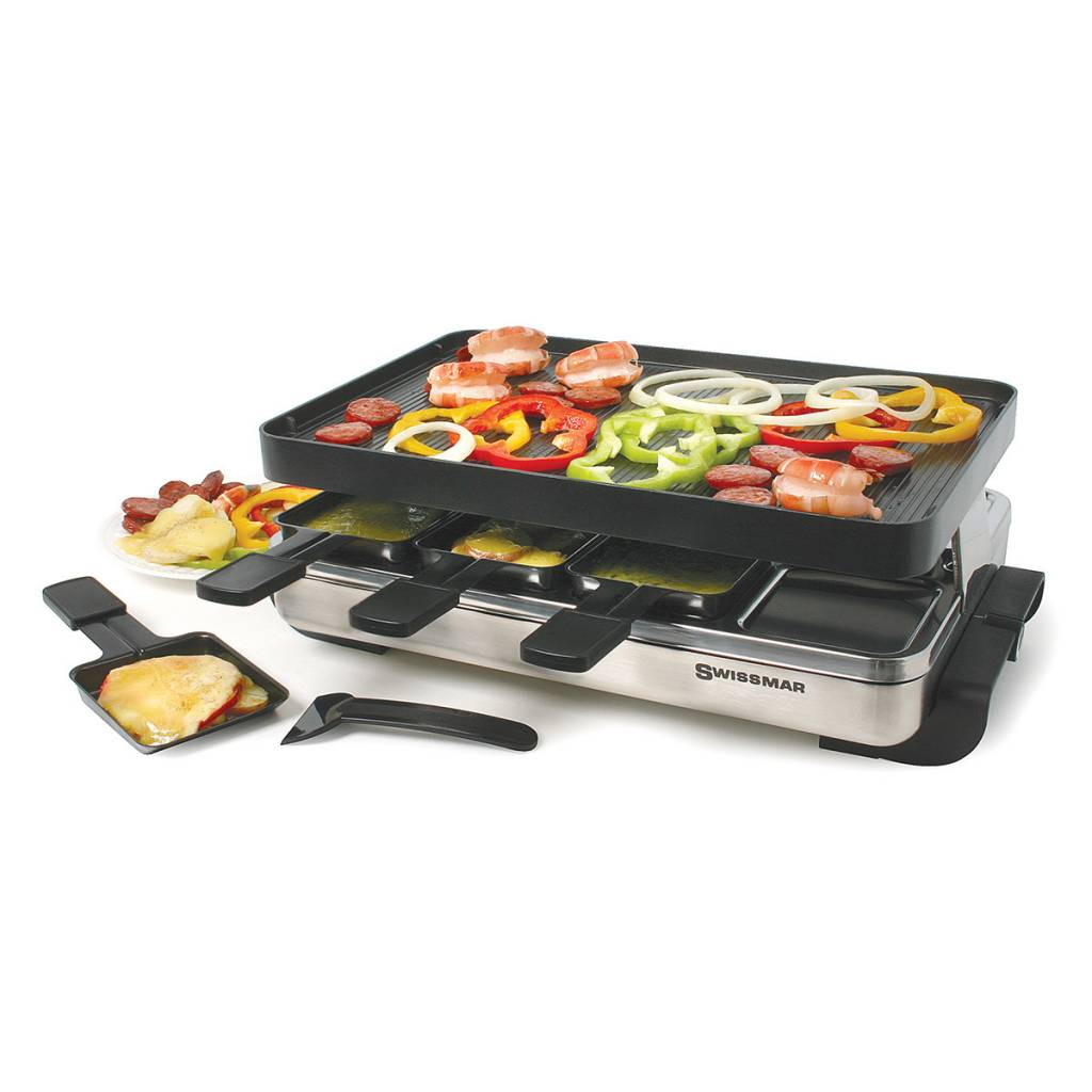 swissmar 8 person stelvio raclette party grill with reversible cast aluminum non stick grill. Black Bedroom Furniture Sets. Home Design Ideas