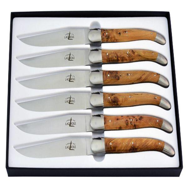 Ensemble de 6 couteaux à bifteck en genévrier de Laguiole