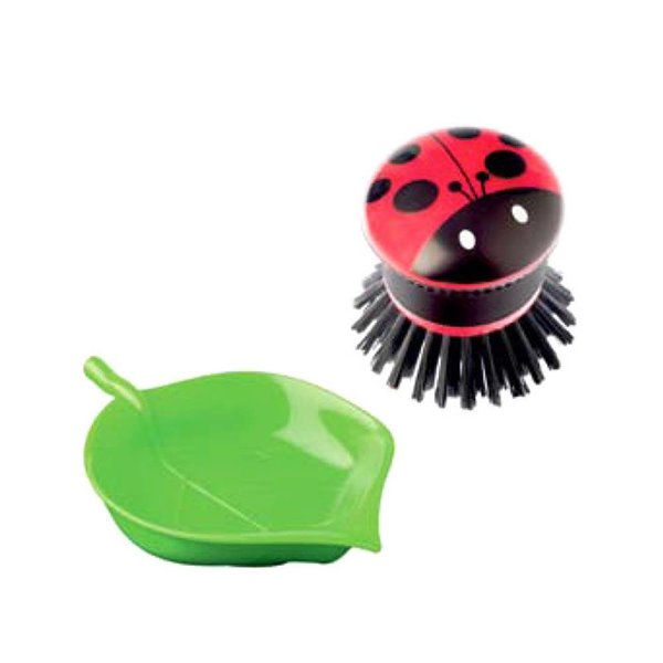 "Vigar ""Lady Bug"" Palm Dish Brush with Tray"