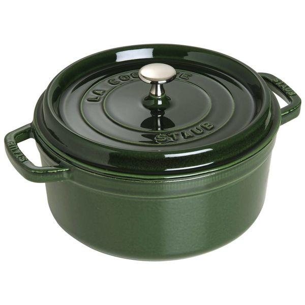 Cocotte ronde Staub 4.6 L / Fonte / basilic