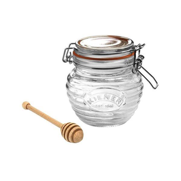 Contenant à miel avec couvercle à attache et bâton de Kilner