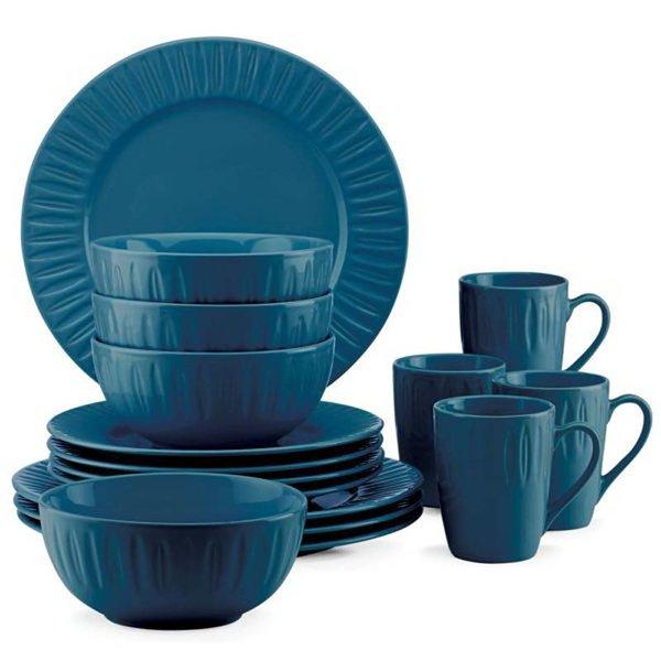 Ensemble à vaisselle 16 piêces Entailles sculptées de Dansk - bleu