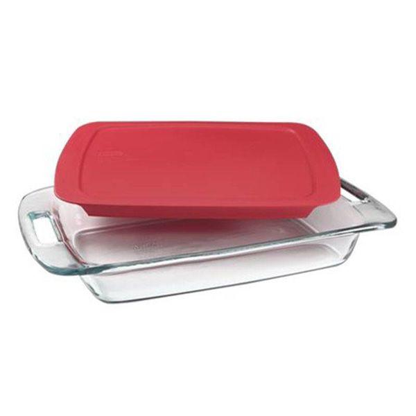 """Plat de cuisson rectangulaire 2.8L """"Easy Grab"""" avec son couvercle rouge de Pyrex"""