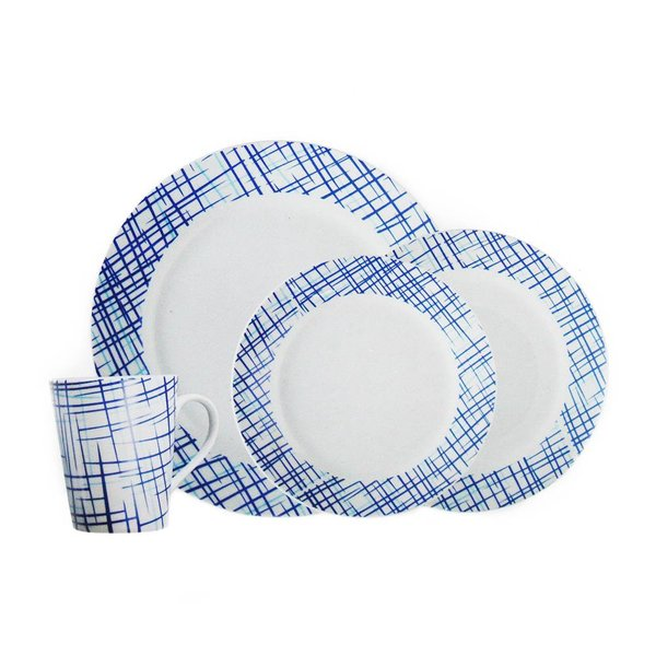 H2K 16 Piece Round Rim Dinnerware Set - Bistro Blue
