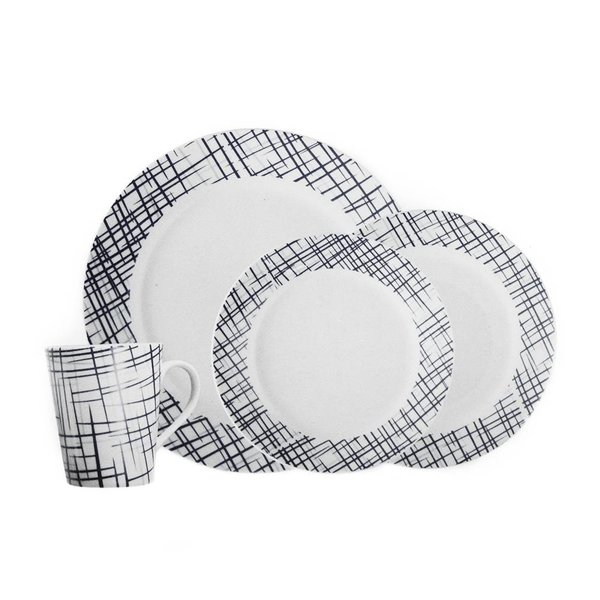 H2K 16 Piece Round Rim Dinnerware Set - Bistro Black