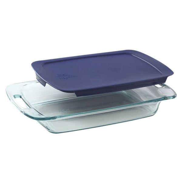 """Plat de cuisson rectangulaire 2.8L """"Easy Grab"""" avec couvercle bleu de Pyrex"""